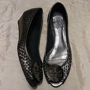 Tory Burch Silver Weave Wedges